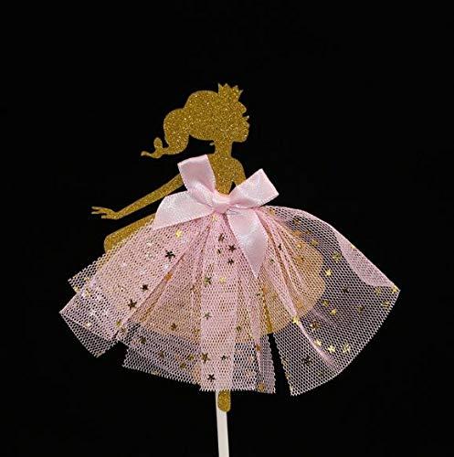15 pieces Girl Dress Ballet Ballerina Tutu Dress Girls Dessert Muffin Cupcake Toppers for Picnic Wedding Baby Shower Birthday Party (GOLD) -