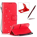 Wallet Case for iPhone 7,Strap Portable Leather Case For iPhone 7,Herzzer Stylish Bling Diamonds Red Butterfly Embossed Pu Leather Purse Pouch Magnetic Closure Flip Folio Protective Case