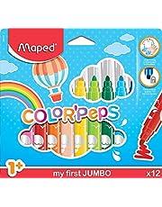 Maped Color'Peps Gros Feutres de Coloriage Premier âge pour Bébé et Enfant dès 1 an avec Pointe Sécurisée et Encre Lavable à l'eau - Boîte de 12 Feutres Jumbo Assortis