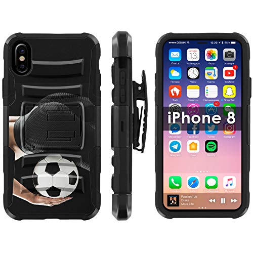 Apple iPhone 8, 8s, 7, 7s Deluxe Phone Cover Designed in USA [TalkingCase], Black/Black Premium Dual Layer Armor Case w/Holster & Kickstand for iPhone 8, 8s, 7, 7s [Soccer Curve Woman] Design