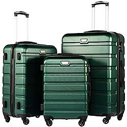 COOLIFE Luggage 3 Piece Set Suitcase Spinner Hardshell Lightweight TSA Lock (Dark green3)