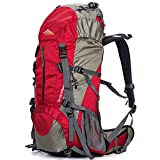 Loowoko Hiking Backpack 50L Travel Daypack Waterproof with Rain Cover for Climbing Camping Mountaineering (Red)