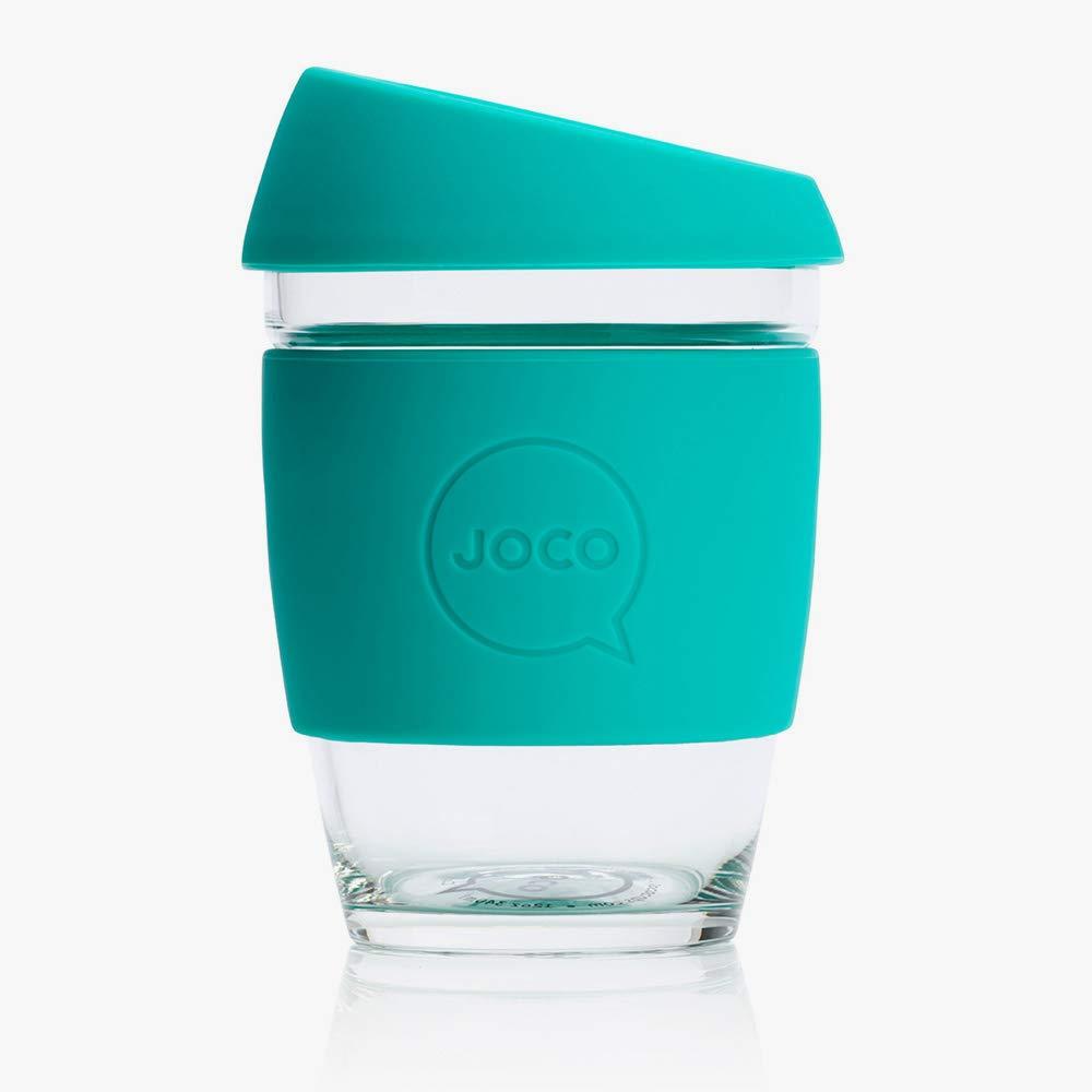 JOCO Reusable Non-Porous Borosilicate Glass Coffee Cup 12oz