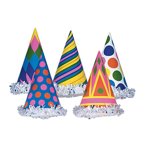 Club Pack of 144 Multi-Colored Geometric Patterned Fun and Festive Party Fringed Cone Hat 6'' by Party Central