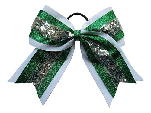 """Price comparison product image New """"SEQUIN GLITTER Green White"""" Cheer Bow Pony Tail 3"""" Ribbon Girls Hair Bows Cheerleading Dance Practice Football Games Competition Birthday St. Patty's Day Christmas"""