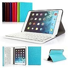 Ipad Mini 1/2/3 Keyboard Case, Symbollife Blue Folding PU Leather Folio Case Cover & Stand with Removable Bluetooth Keyboard For Apple iPad Mini 2 with Retina Display / the Newest iPad Mini 3 (2014 Version)