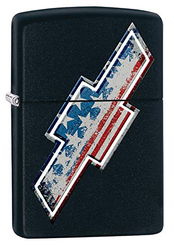 (Zippo Lighter: Chevrolet American Flag - Black Matte 79614)