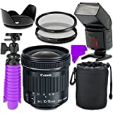 Professional Accessory Kit with Canon EF-S 10-18mm f/4.5-5.6 IS STM Lens & Professional Dedicated Digital TTL Flash + Bundle Package for Canon EOS Rebel SL1, T5, T6, T3i, T4i, T5i Digital SLR Cameras