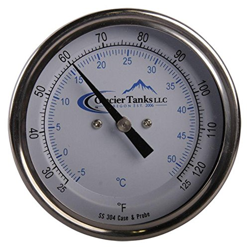 Thermometer | Rear Mount 25-125 Degree x 6 inch - Stainless Steel SS304 - Glacier Tanks