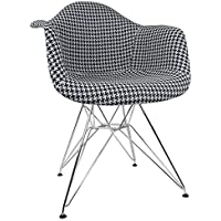 Ariel Houndstooth Pattern Woven Fabric Upholstered Mid-Century Eames Style Accent Arm Chair, White