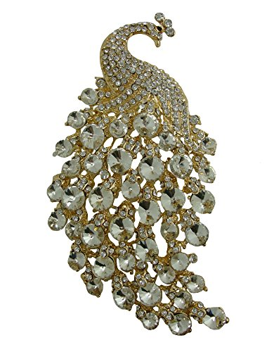 TTjewelry Art Nouveau Gorgeous Peacock Crystal Rhinestone Brooch Pins (White-(gold-tone)) ()