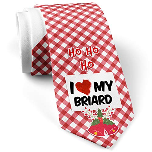 - Men's Christmas NeckTie I Love my Briard Dog from France White with Plaid Red