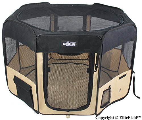 EliteField 2-Door Soft Pet Playpen, Exercise Pen, Multiple Sizes and Colors Available for Dogs, Cats and Other Pets (42' x 42' x 24'H, Black+Beige)