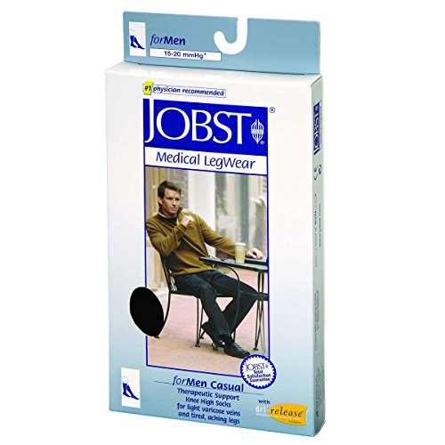 - BSN Medical 113121 JOBST Men's Casual Socks with Closed Toe, Knee High, 20-30 mmHg, Full Calf, X-Large, Black