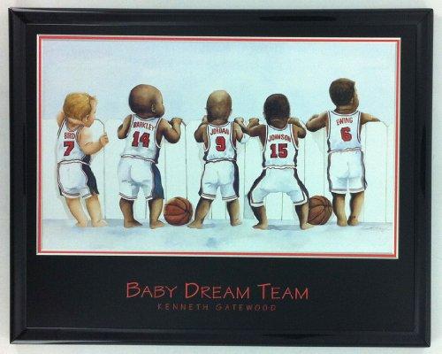 NBA Basketball Legends Jordan Johnson Ewing Barkley Print Framed F6511A ()