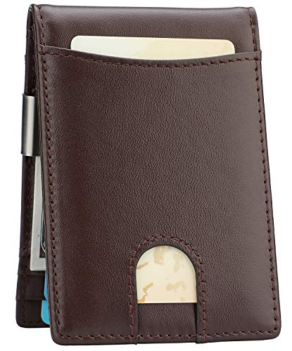 Money Clip Wallet - Mens Slim Front Pocket Leather Wallet RFID Blocking Minimalist Mini Wallet (Style 8 - Brown/Brown)