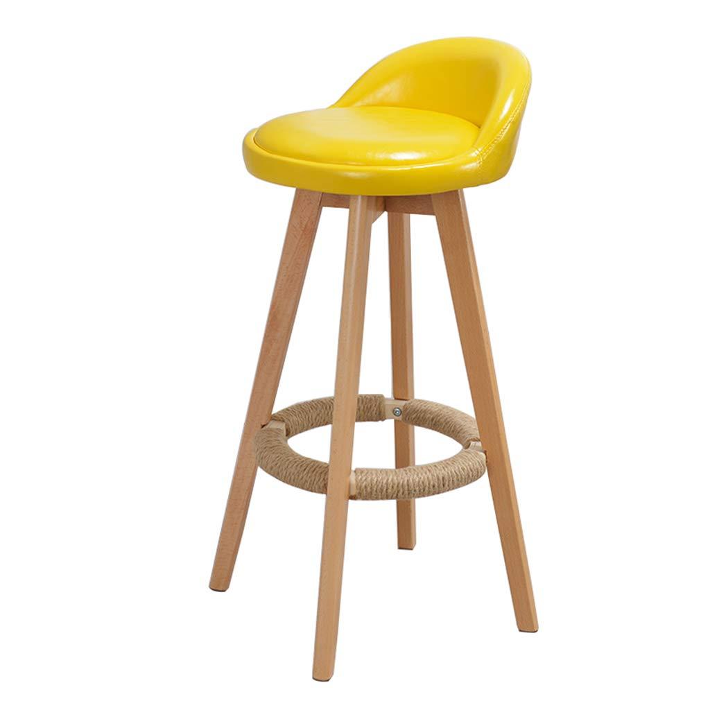 Furniture Bar Chair Modern Style Bar Stool Counter Chair Kitchen Breakfast Rotating Stool Wooden Leg Yellow PU Pad (Sitting Height: 73CM)