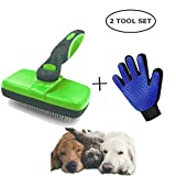 Versacrop Self Cleaning Slicker Brush and Grooming Glove for Cats and Dog - Pet Grooming Tool Shedding Tools for Grooming Cat Dog Long & Thick Hair