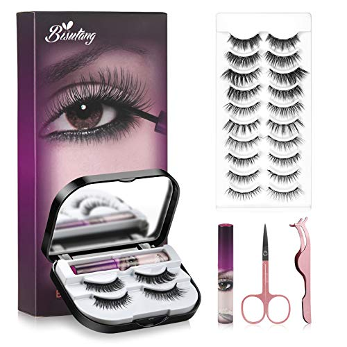 Magnetic Eyelashes with Eyeliner, 12-Pair Long Lasting Magnetic Lashes, 2 Tubes of Magnetic Eyeliner No Glue Needed Eye Lashes with Scissors Tweezers & Mirror Case