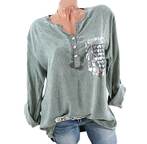 Blouse Col Shirt Lache de Manches Les Mode Longues V Vert et Jours Tous Printemps Tops T Automne Chemisiers Femmes Smalltile Casual Hauts wBUZIcY8cq