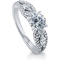 BERRICLE Rhodium Plated Sterling Silver Solitaire Promise Engagement Ring Set w/Swarovski Zirconia Round
