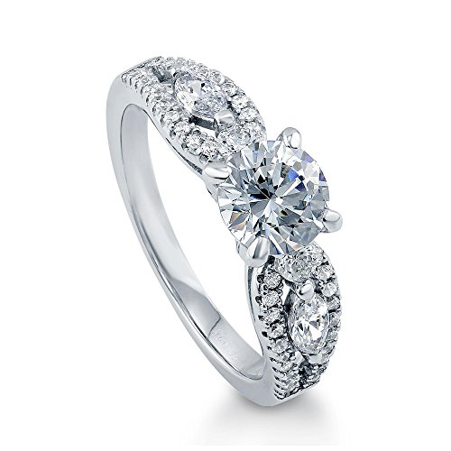 BERRICLE Rhodium Plated Sterling Silver Solitaire Promise Engagement Ring Made with Swarovski Zirconia Round 1.6 CTW Size 8