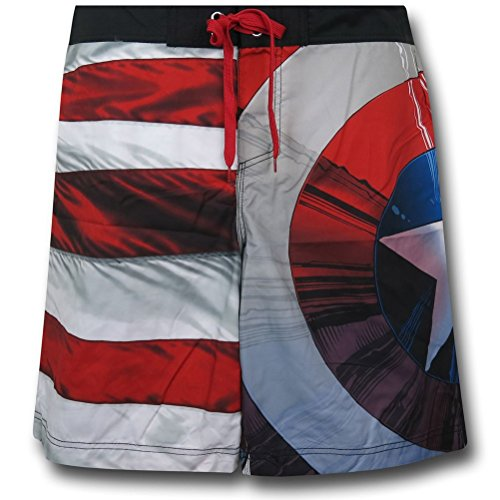 Captain America Flag Board Shorts w/ Rear Pocket- XLarg