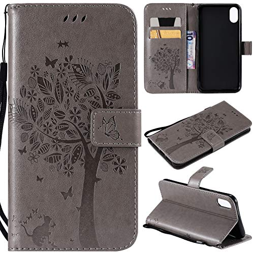 Price comparison product image NOMO iPhone Xs Case, iPhone Xs Wallet Case, iPhone Xs Flip Case PU Leather Emboss Tree Cat Flowers Folio Magnetic Kickstand Cover with Card Slots for Apple iPhone Xs 2018 / iPhone X 2017 Gray