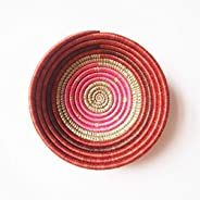Small African Basket: Shyanda/Rwanda Basket/Woven Bowl/Sisal & Sweetgrass Basket/Pink, Brick, Rust, Sweetg
