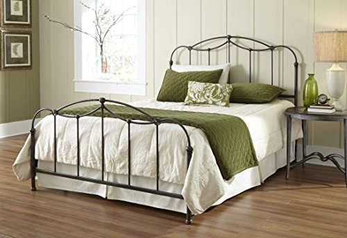 Affinity Complete Bed with Metal Spindle Panels and Detailed Castings, Blackened Taupe Finish, Queen (Black Iron Canopy Bed compare prices)