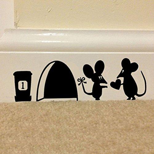 Mod Turtle Wall Art (OKOKMALL US--Mouse Hole Vinyl Mural Wall Art Sticker Decal Kids Nursery Room House Home 3sp)