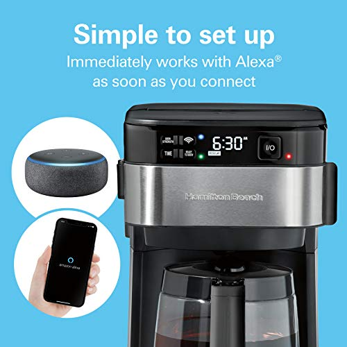 Hamilton Beach Works with Alexa Smart Coffee Maker, Programmable, 12 Cup Capacity, Black and Stainless Steel (49350) – A Certified for Humans Device