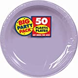 Lavender, Big Party Pack, Round Plastic Plates 10.25'', 50 Per Pack