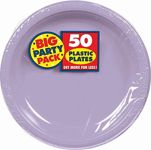 Amscan Big Party Pack 50 Count Plastic Lunch Plates, 10.5-Inch, Lavender by Amscan