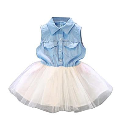 Witspace Toddler Baby Girl Princess Party Clothes Kid Denim Sleeveless Tulle Tutu Dresses