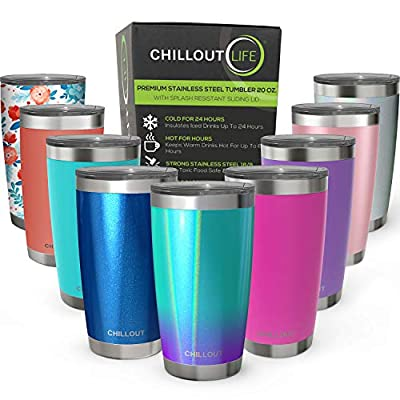 CHILLOUT LIFE Stainless Steel Tumbler with Lid & Gift Box (Stainless Steel Wine Glass Tumbler)