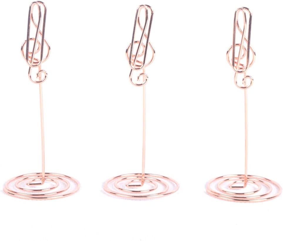 MoGist Musical Note Shape Table Number Photo Holder Stands for Weddings and Other Occasions Decoration (Rose Gold)