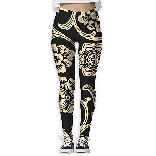 Women's Obey Flower Yoga Pants Fashion Comfy Yoga Capris Power Flex Running Pants Workout Leggings