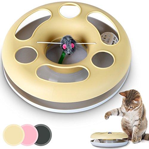 Leopet Katzenspielzeug Katzenkarussel Spielzeug für Katzen mit Maus und rotierendem Ball im Inneren in der Farbe Ihrer Wahl