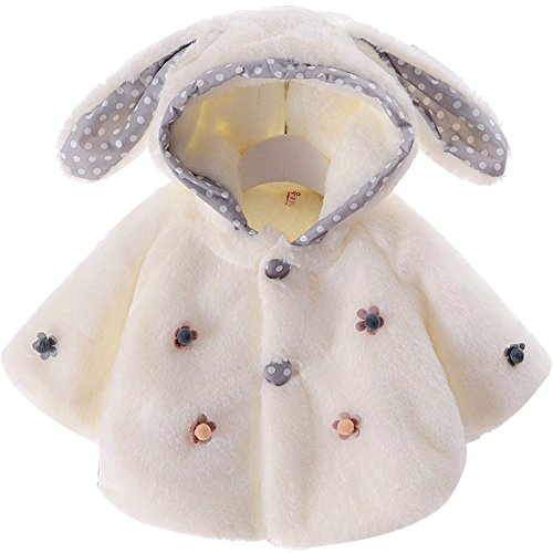 Baby Girl Fur Winter Warm Coat Cloak Jacket Thick Warm Clothes size 18-24Months/Tag100 (Style White ) by EGELEXY