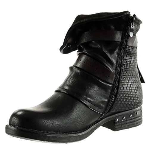 studded Shoes 5 thong Block classic high Women's biker boots Ankle Black Booty cavalier heel Angkorly 3 braided Fashion CM xEBavwqP