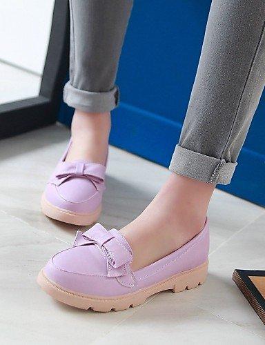 Zq Azul Gyht Eu39 Rosa Tacón us8 Zapatos Mujer Purple Uk6 Semicuero Casual De Redonda Blanco Punta Pink Cn39 us8 Bajo Mocasines Morado rrqwBPd