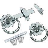 Galvanised Gate Ring Latch Handle & Fixings - Heavy Duty Garden Fence/Door Lock