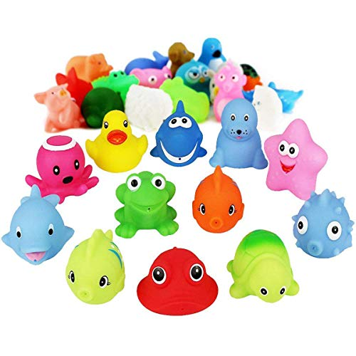 Fstop Labs 30 Pack Baby Bath Toy Fun Water for Kids, Party Favors, Gift, Birthdays, Baby Showers, Baby Bath Toys, Bath Time, Ocean Animals Water Fun Floating Bath Toys Random Styles