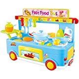 PowerTRC Kitchen Set Fast Bus Play Pretend Foods | (Blue)