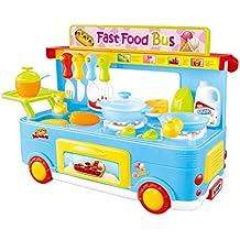 PowerTRC Fast Food Bus Kitchen Play Set | Pretend Play Foods | Pretend Foods | (Blue)