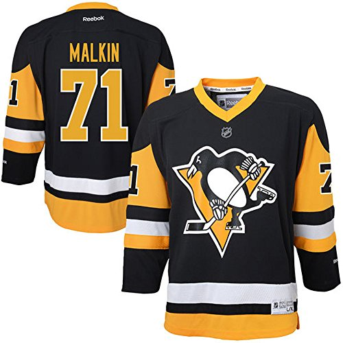NHL 71 Evgeni Malkin Youth Boys 8-20 Pittsburgh Penguins Player Replica Jersey Black color Size M