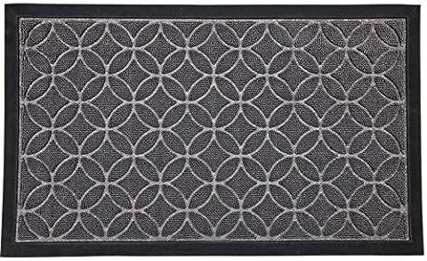 """Doormat for Your Entryway, Indoor or Outdoor; Door mats have Non Slip Rubber Backing, Grey Colored Rug With Circle Pattern, 29"""" x (Waterhog Indoor Outdoor Rug)"""