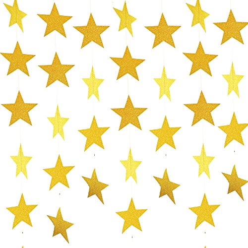 Coceca 50ft Star Paper Garland Bunting Banner Hanging Decoration for Party Decoration, 3.7inches (Gold)