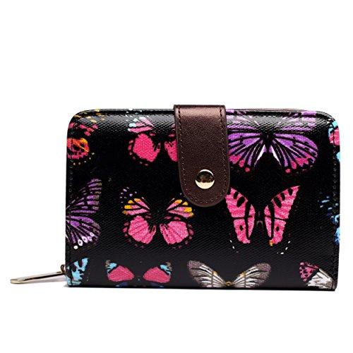 Miss Lulu–Impresión Pequeño de hule para mujer Monedero Cartera Negro mariposa